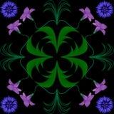 Svart för gräsplan för violet för blått för modellabstraktionblommor Royaltyfri Foto