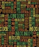Svart för modell för design för Paris london tokyo moscow bokstavstext vektor illustrationer