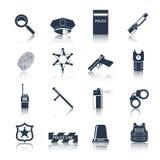 Svart för polissymbolsuppsättning Arkivfoton