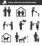 Svart för socialtjänstsymbolsuppsättning stock illustrationer