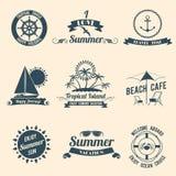 Svart för sommarhavsemblem vektor illustrationer