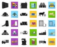 Svart för textilbransch, plana symboler i den fastställda samlingen för design Symbolet för textilutrustning- och tygvektorn lage vektor illustrationer