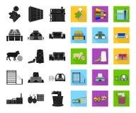Svart för textilbransch, plana symboler i den fastställda samlingen för design Symbolet för textilutrustning- och tygvektorn lage stock illustrationer