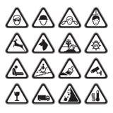Svart för uppsättning för varningssäkerhetstecken vektor illustrationer