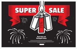 Svart försäljning för fredag påseshopping Stock Illustrationer