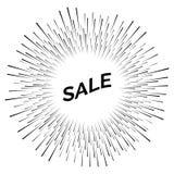 Svart försäljningsklistermärke med fyrverkerier vektor illustrationer