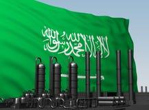 Svart fabrik som är främst av flaggan Saudiarabien vektor illustrationer