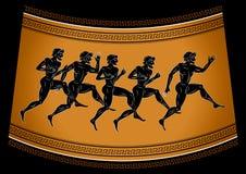 Svart-figurerade löpare i antik stil Illustration i gammalgrekiskastilen Begreppet av sportlekarna royaltyfri illustrationer