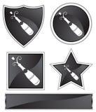 svart flaskchampagnesatäng vektor illustrationer