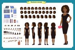 Svart flicka i uppsättning för skapelse för tecken för aftonklänning Partikvinna i svart moderiktig lyxig kappa Full längd, olika vektor illustrationer