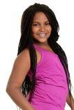 Svart flicka med rosa färgöverkanten Arkivfoton