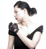 svart flickaprofil Arkivbild