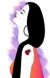 svart flickatatueringwhite Royaltyfria Foton