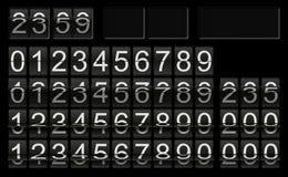 Svart flipklockamall med nummer i olika fliplägen för individuell funktionskortaktivering royaltyfri illustrationer