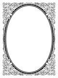 Svart för ram för kalligrafiskrivkonst oval barock Arkivbild