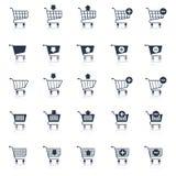 Svart för symboler för shoppingvagn Arkivbild