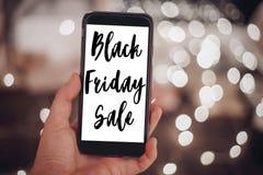 Svart fredag begrepp Svart fredag försäljningstext förestående som rymmer sma Royaltyfri Bild