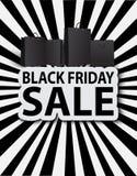Svart fredag försäljning med shoppingpåsar. Affischförsäljning Royaltyfri Bild