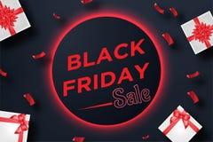 Svart fredag försäljningsbaner med gåvaasken och konfettier på röd neonbakgrund Stock Illustrationer