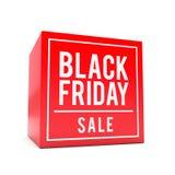 Svart fredag försäljningsklistermärke på den röda kuben vektor illustrationer