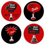 Svart fredag svart och röd uppsättning av runda symboler royaltyfri illustrationer