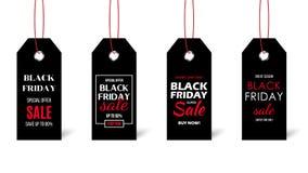 Svart fredag prislappuppsättning som isoleras på vit bakgrund Svartetiketter med Sale text stock illustrationer