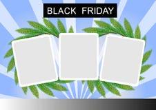 Svart fredagbaner och fyrkantig etikett tre på St stock illustrationer