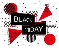 svart friday för baner försäljning Black Friday inskrift på memphis stilbakgrund också vektor för coreldrawillustration Arkivbild