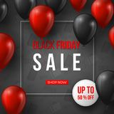 svart friday för baner försäljning röda och svarta realistiska glansiga ballonger för 3d med text i ram- och rabattetikett grå mo Fotografering för Bildbyråer