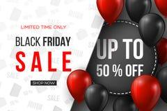 svart friday för baner försäljning röda och svarta realistiska glansiga ballonger för 3d med text- och rabattetiketten Vit modell Arkivfoto