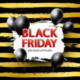 svart friday för baner försäljning Säsongsbetonad affisch för rabatt med den realistiska utdragna borsteslaglängden för ballong o royaltyfri illustrationer