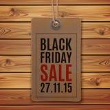 svart friday försäljning Prislapp på träplankor Royaltyfri Bild