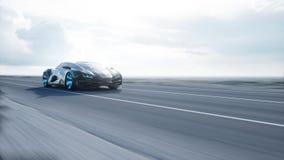 Svart futuristisk elbil på huvudvägen i öken Mycket snabb körning Begrepp av framtid framförande 3d vektor illustrationer