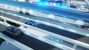 Svart futuristisk snabb körning för elbil mycket i scifi-sityen, stad Begrepp av framtid Realistisk animering 4K