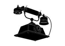 svart gammal telefon stock illustrationer