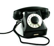 svart gammal telefon Arkivfoton
