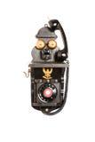 svart gammal telefon Arkivfoto