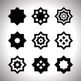 Svart geometrisk logouppsättning Royaltyfri Bild
