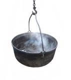 svart gjutjärn isolerad kettle royaltyfri fotografi