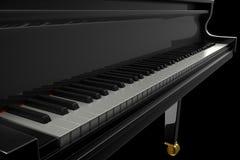 Svart glansigt piano i den mörka platsen Arkivbild