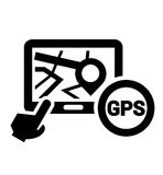 Svart gps-symbol Arkivfoton