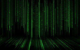 Svart grön binär bakgrund för systemkod Royaltyfria Bilder