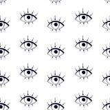 Svart grafisk drawnig av ögonglober med ögonfrans på vit bakgrund Moderiktig modern affisch royaltyfri illustrationer