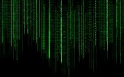 Svart grön binär bakgrund för systemkod Arkivfoton