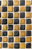Svart & guld- bakgrundsmodell/textur för keramisk tegelplatta Royaltyfri Fotografi