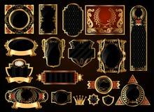 Svart guld-inramade etiketter Vektor Illustrationer