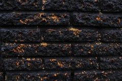 Svart guld- tegelstenvägg Arkivbilder
