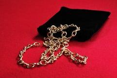 svart guldhalsband för påse Royaltyfri Fotografi