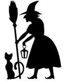 svart häxa för pumpa för vykort för katthalloween moon Royaltyfri Fotografi