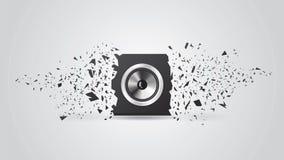 Svart hög högtalare för tryckvåg. Bakgrund Arkivbild